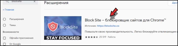 установите blocksite