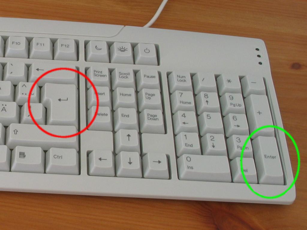 Клавиша Enter - расположение